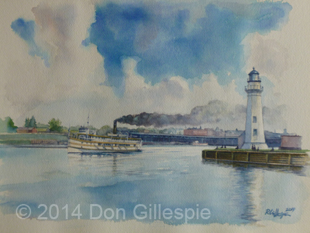 Oswego Harbor, Steamer Arundell, lighthouse